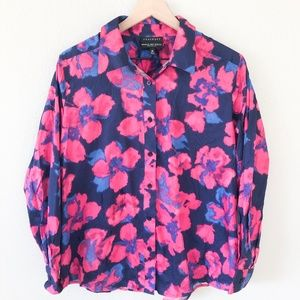 FOXCROFT Purple Floral Wrinkle Free Shirt